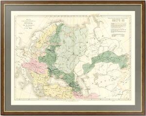 Старинная карта роста России после вступления Петра I на престол. 1842г. Арроусмит