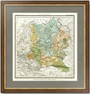 Старинная гравированная карта Европейской России. 1853г. Вестерманн