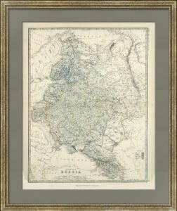 Европейская Россия. Джонстон. 1879г. Антикварный подарок руководителю в кабинет. Карта