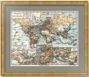 Старинная карта мировых путей сообщения. 1886г. Подарок почтовому служащему, логисту