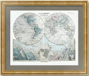 Антикварная карта мира. Немецкие картографы для Италии. 1889г. Подарок руководителю