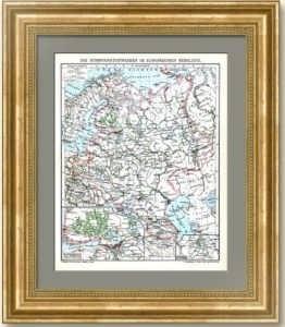Водные и железнодорожные пути Европейской Росси. 1912г. Карта. Подарок железнодорожнику