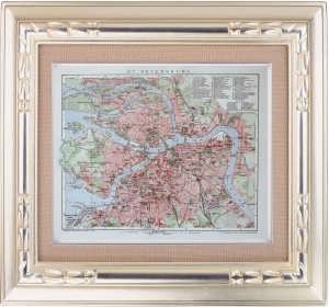 Антикварный план Санкт-Петербурга. 1912 г. Универсальный Лексикон