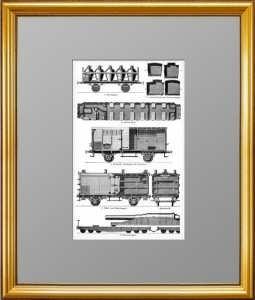 Железнодорожные вагоны. 1898г. Гравюра. Антикварный подарок в кабинет железнодорожника