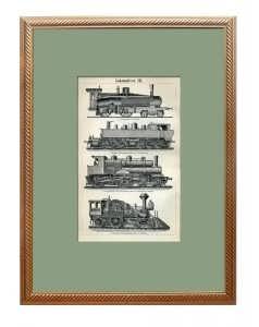 Локомотивы III. 1895г. Торцовая гравюра на дереве