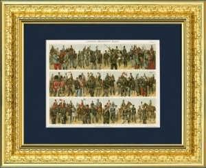 1893г. Униформа основных армий Мира XIX века. Старинная литография, подарок в кабинет