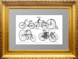 Велoсипеды.1896г. Старинная гравюрa. Уникальный антикварный подарок велосипедисту