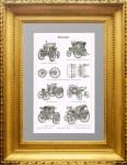 Автомобили. Моторизированный велосипед Бенца и электромобиль. 1895г.  Подарок в кабинет