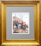 Российская нерегулярная кавалерия. 1798г. Антикварная гравюра на меди