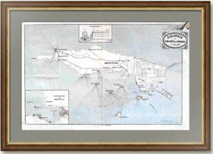 Кронштадт. Старинный план  из собрания барона фон Либенштайна. 1850 г.