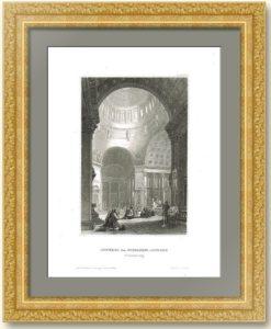 Внутренне убранство Никольского Собора в Петербурге. 1850г. Старинная гравюра