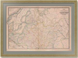 Северо-запад Российской империи. 1860г. 70x98! Антикварный подарок - старинная карта