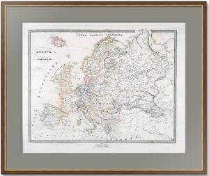 Российская империя и Европa. 1864г. Антикварная карта, подарок шефу в кабинет