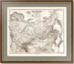 """Антикварная карта """"Российская империя, а также Монголия, Персия и Китай"""". 1875г."""