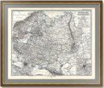 Россия с железными дорогами, Москвa, Петербург. 1875г. Старинная карта в подарок