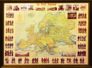 Старинная карта Европы. 1895г. 93,5х110!  Антикварный подарок руководителю в кабинет