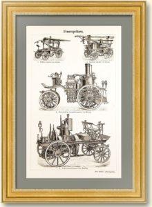 Пожарные насосы на конной тяге. 1897г. Старинная гравюра. Подарок пожарному в кабинет