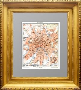 Старинный план Москвы. 1897г. Брокгауз. Элегантный подарок в кабинет