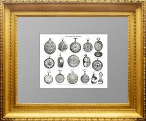 Карманные модели часов. 1896г. Старинная гравюра - подарок в кабинет коллекционеру часов