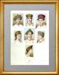 Русские женские головные уборы (кокошники) 1880г. Старинная литография