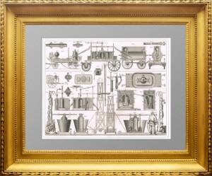 Пожарное дело. Насосы, лестницы, индивидуальная защитa. 1870г.  Подарок пожарному