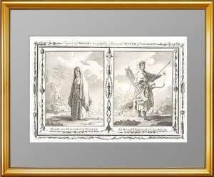 Одежда жительницы Московии и костюм калмыка. 1782 г. Грэйнгер. Антикварная гравюра
