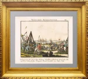 Осада русской крепости Нишлот шведами в 1788 году.  Антикварная музейная гравюра