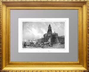 Москва. Стены Кремля. 1838г. Викерс/Лалес. N62 . Старинная гравюра