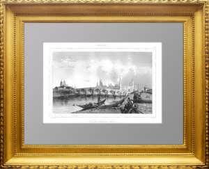 Москва. Большой Каменный мост. 1838г. Лалес. N95 . Старинная гравюра, антикварный подарок