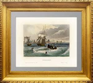Астрахань. Маер. 1841г. Антикварная гравюра. Акварельная раскраска
