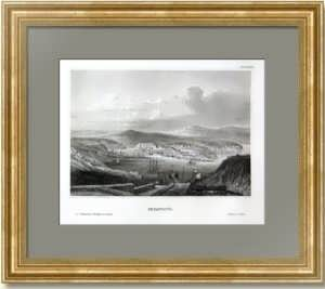 Севастопольская бухта с высоты птичьего полёта. 1850г. Маер. Антикварная гравюра