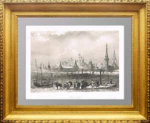 Кремль и Москва-рекa. 1853г. Руарг. Гравюра - антикварный подарок в кабинет