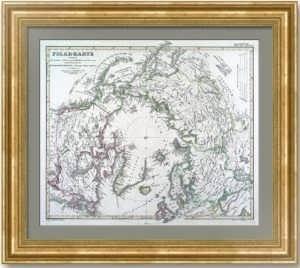 Россия в Европе, Азии и Америке (Аляска). Полярная карта. 1861г. Штилер. Антикварный подарок