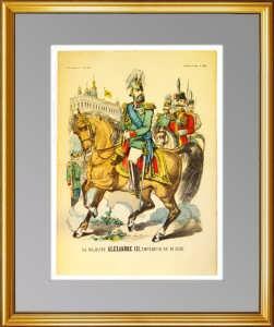 Александр III на коне. Портрет. 1880г. Эпинальская картинка. (лубок). Редкость