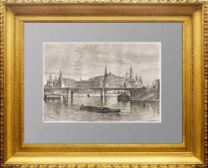 Москва. Вид на Москва-реку и Кремль. 1880г. Гравюра - антикварный подарок