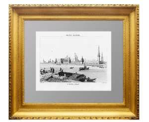Москва. Вид на Кремль и Москву-реку. 1839г. Старинная гравюра, антикварный подарок