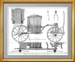 Каретное искусство.1776г. Лист XI. Четырёхколёсный экипаж. Дидро. Антикварный ВИП подарок