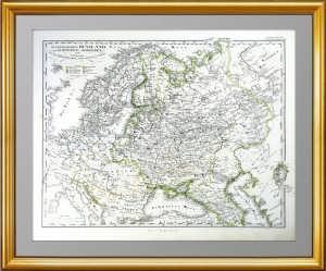 Европейская Россия, Швеция и Норвегия. 1860г. Антикварный подарок в кабинет руководителю