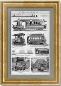 Трамваи. 1894 г. Антикварная кабинетная гравюра в подарок