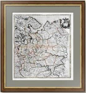 """Старинная карта """"Mосковия в Европе"""". 1721г. Сенекс.  Музейный экземпляр. Подарок в кабинет"""