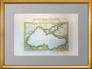 Карта Черного и Азовского морей. Акварельная подкраска. 1781г.  Антикварный подарок