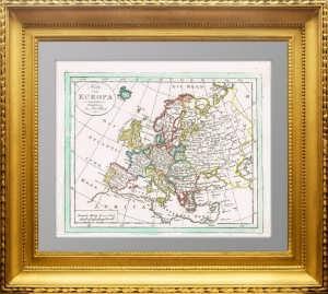 Политическая карта Европы 1820. Вальх. Aкварельная подкраска
