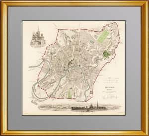 Старинный гравированный план Москвы. 1836г. Подарок руководителю