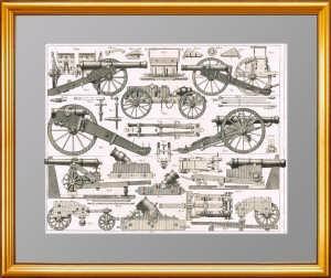 Старинная гравюра. Артиллерия XIX века. Лист 2.  Хек. 1851г. Антикварный подарок военному