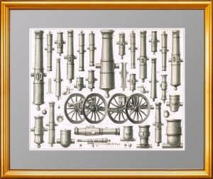 Старинная гравюра. Артиллерия XIX века. Лист 1.  Хек. 1851г. Антикварный подарок военному