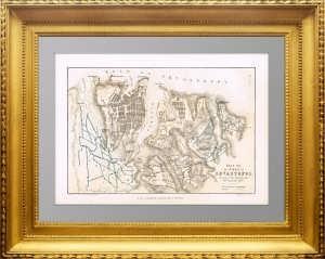 Старинный план Севастополя. 1856г. Антикварный подарок в кабинет патриоту