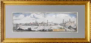 Нарва и Ивангород. 1652г. Мериан. Антикварная гравюра, акварель. Мериан.