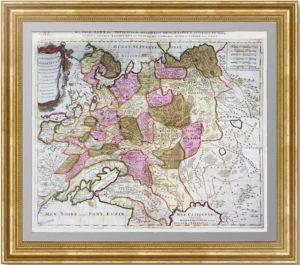 Белая Россия или Московия. RUSSIÆ ALBÆ. 1698г. Сансон, Шенк. Антикварная кабинетная карта