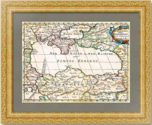 Черное море. Крым. 1700г. Сансон. Редкая антикварная карта - VIP подарок