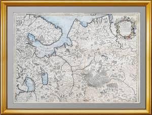 """Антикварная карта """"Московия. Север"""". 1746г. Делиль. Кабинетный формат. ВИП подарок"""